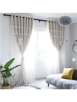 Modern Princess Embroidery Decoration Blackout Custom Curtain Sets for Living Room Bedroom 84W 84L 2 Panel Set
