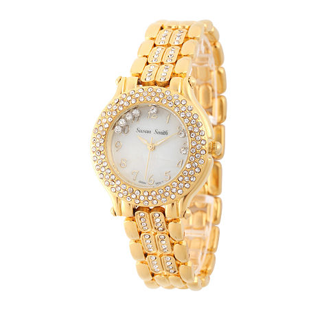 Personalized Womens Gold Tone Crystal Accent Bracelet Watch, One Size , No Color Family