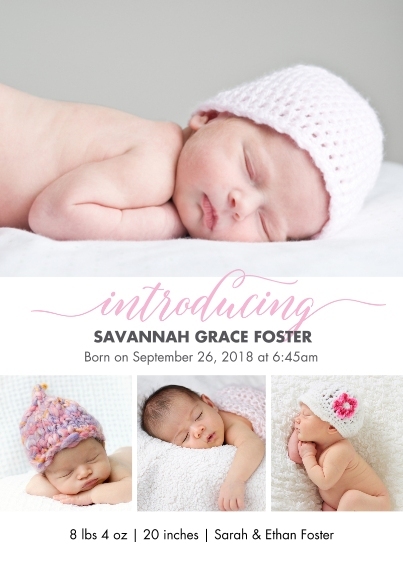 Baby Girl Announcements Flat Matte Photo Paper Cards with Envelopes, 5x7, Card & Stationery -Baby Pink Introducing
