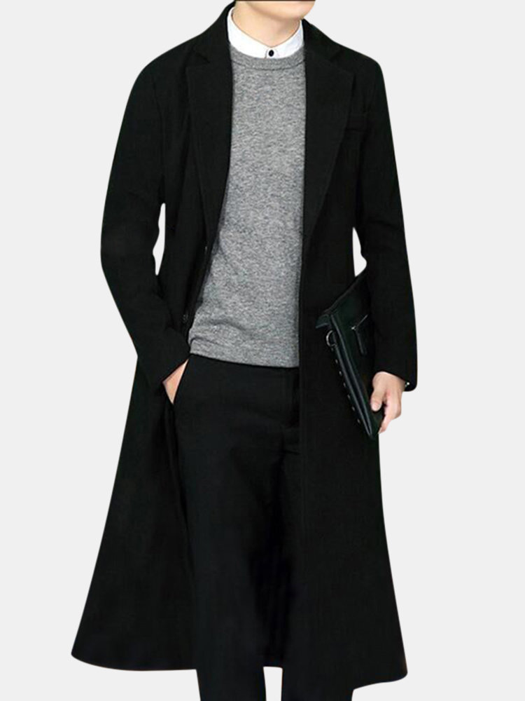 Mens Long Woolen Slim Fit Jacket Thickened Warm Single-breasted Suit Collar Casual Trench Coat