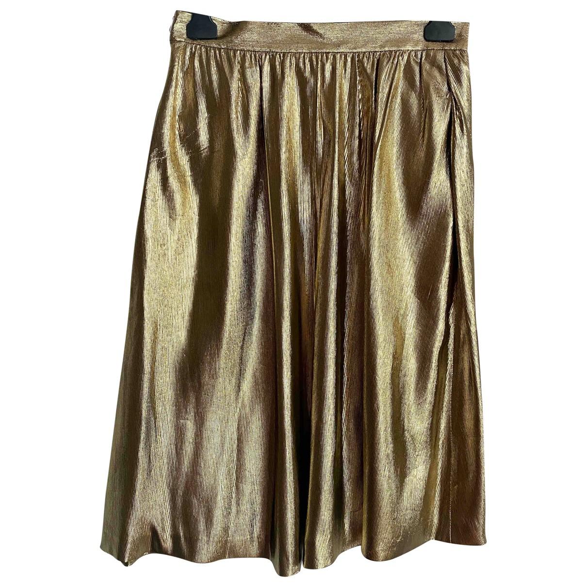 Yves Saint Laurent \N Gold Silk skirt for Women 40 FR