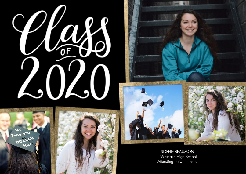 2020 Graduation Announcements Flat Glossy Photo Paper Cards with Envelopes, 5x7, Card & Stationery -2020 Gold Frames Collage by Tumbalina