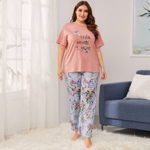 Plus Slogan Graphic Tee and Floral Pants PJ Set