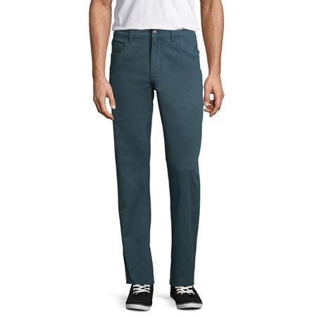 St. John's Bay Stretch Straight Fit 5 Pocket Pants, 30 32, Blue