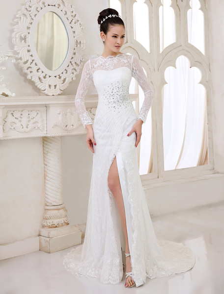 Milanoo Ivory Sheath Jewel Neck Split Front Sweep Bridal Wedding Dress
