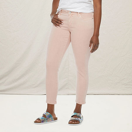 a.n.a-Tall Womens Mid Rise Skinny Ankle Jean, 18 Tall , Pink
