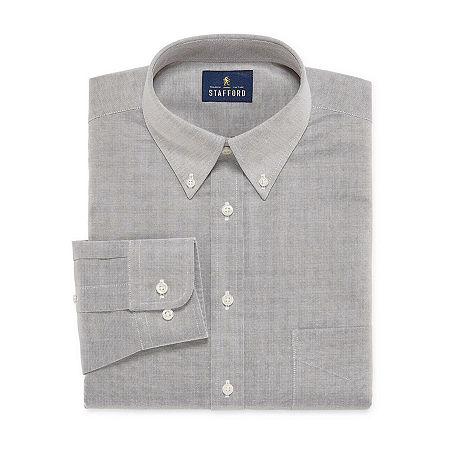 Stafford Mens Wrinkle Free Oxford Button Down Collar Athletic Fit Dress Shirt, 15 34-35, Gray