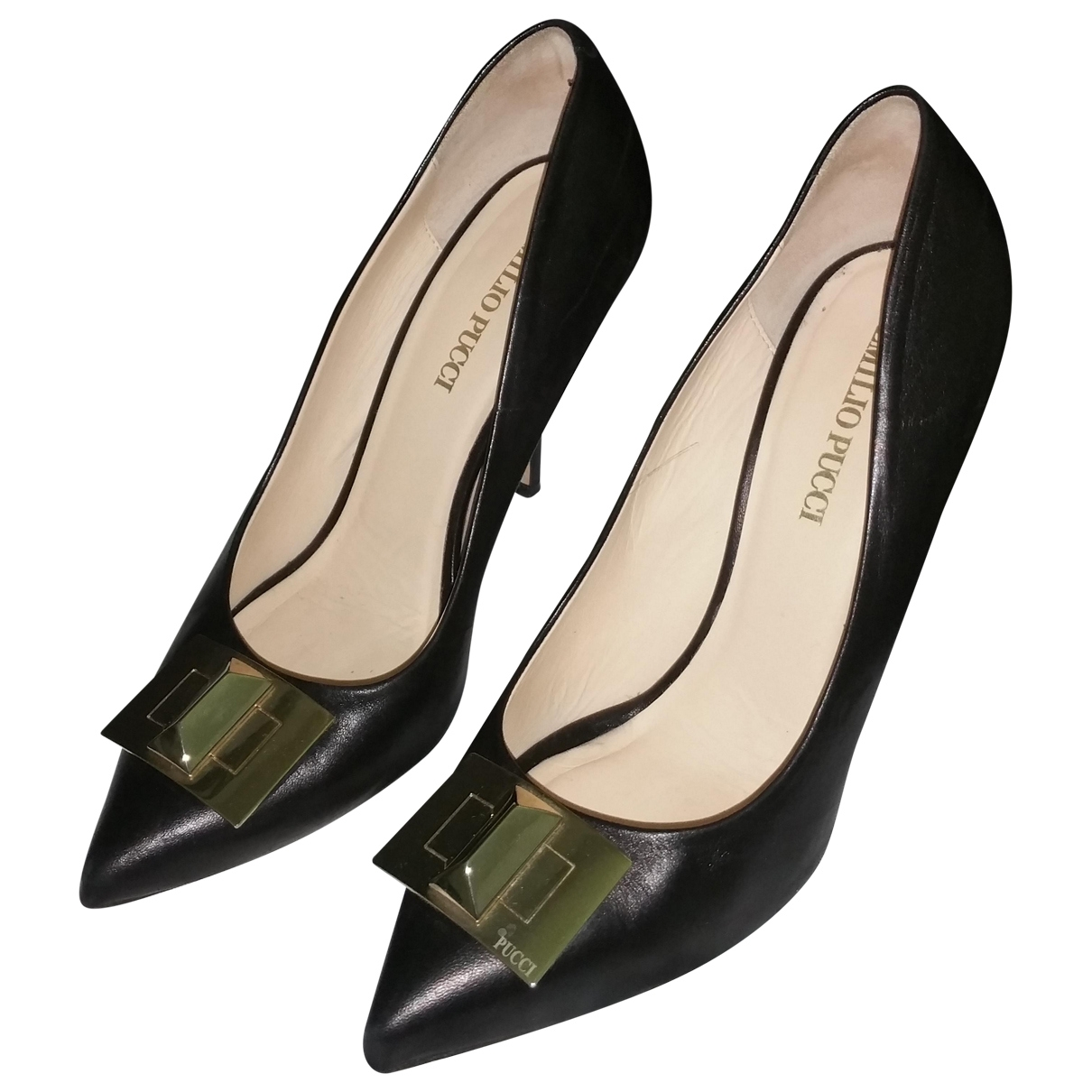 Emilio Pucci \N Black Leather Heels for Women 38 EU