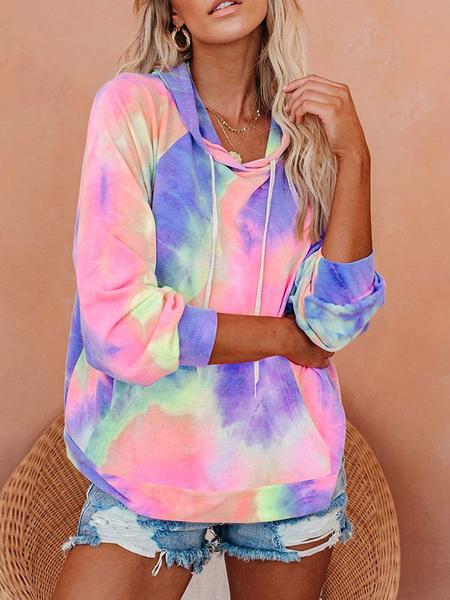 Milanoo Hoodie For Woman Pink Long Sleeves Tie Dye Drawstring Pockets Hooded Sweatshirt