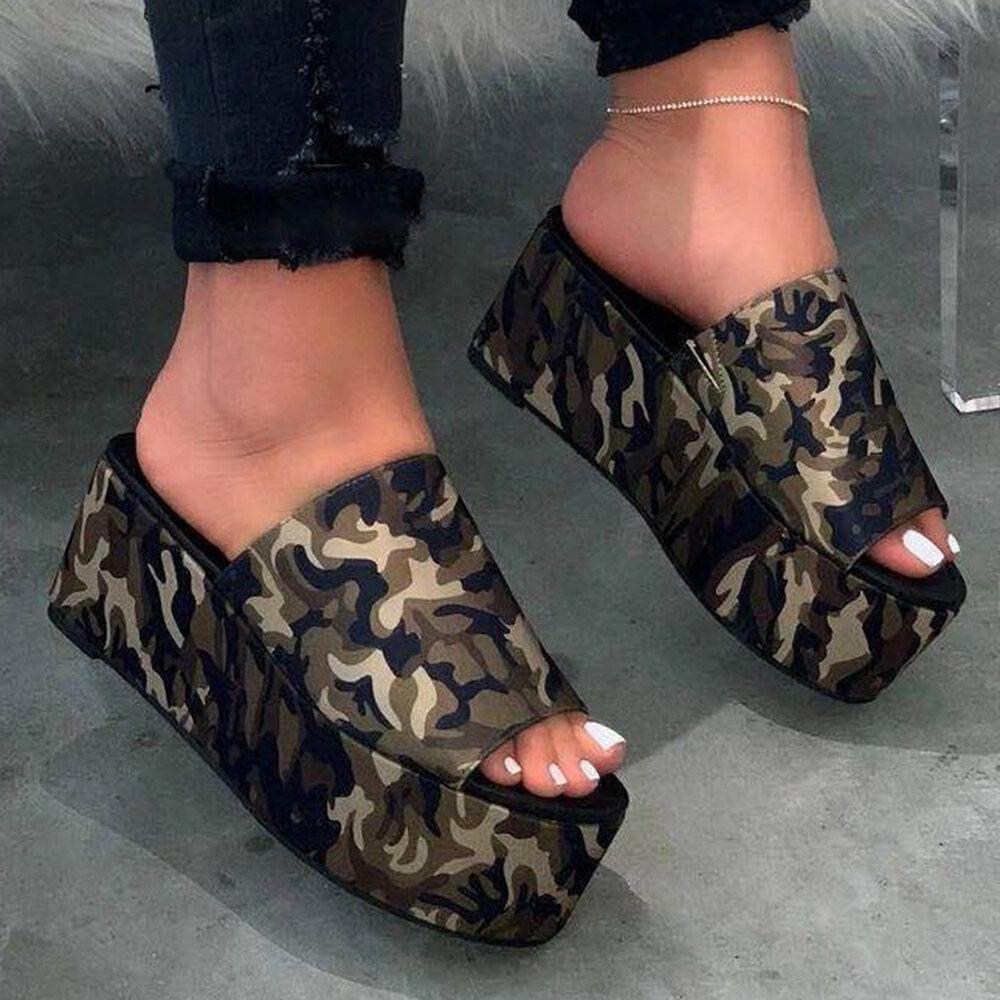 Women Casual Leopard Open Toe Non Slip Platform Slippers