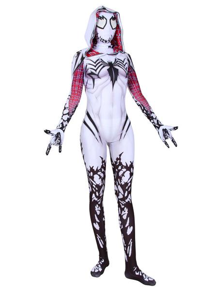Milanoo Marvel Comics Gwen Stacy Cosplay White Venom Marvel Film Hooded Jumpsuit