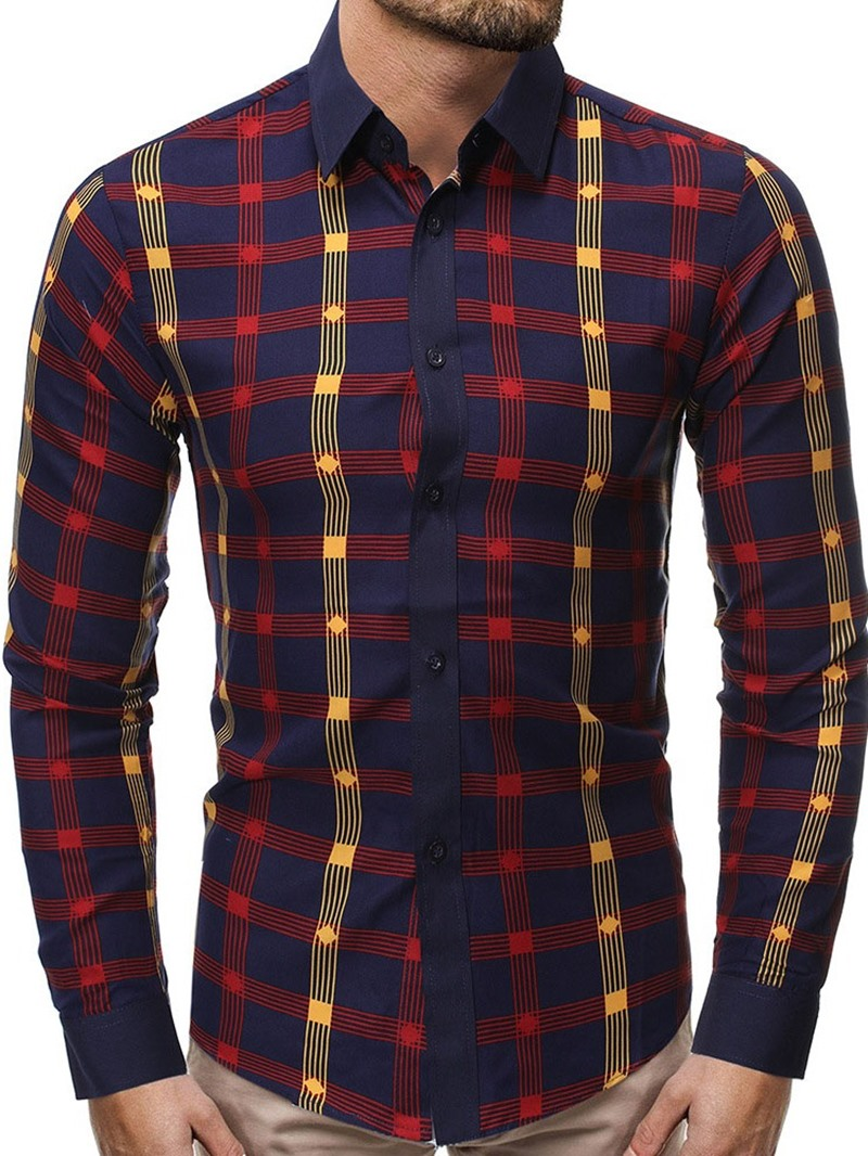 Ericdress Plaid Casual Print Men's Single-Breasted Shirt