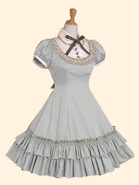 Milanoo Sweet Lolita Dress OP Burgundy Stand Collar Short Sleeve Lolita One Piece Dress