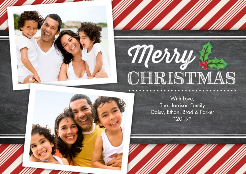 Christmas Photo Cards 5x7 Cards, Premium Cardstock 120lb, Card & Stationery -Christmas Candy Cane Stripes