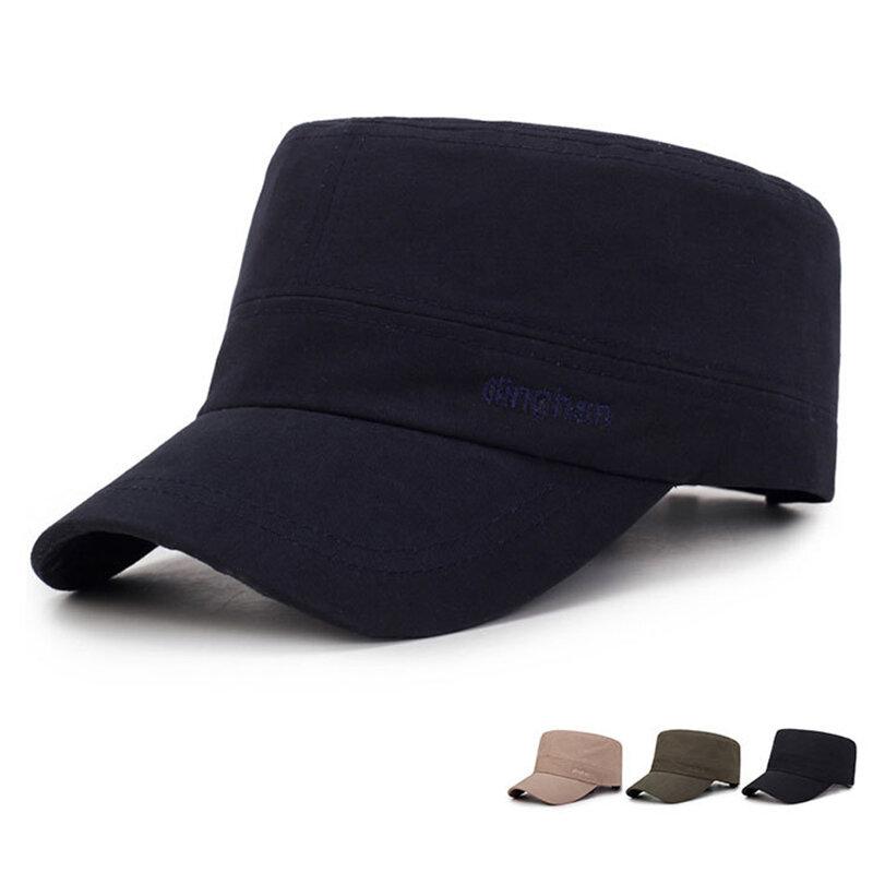 Men Adjustable Windproof Wild Cotton Flat Cap Simple Style Outdoor Travel Sunscreen Hat
