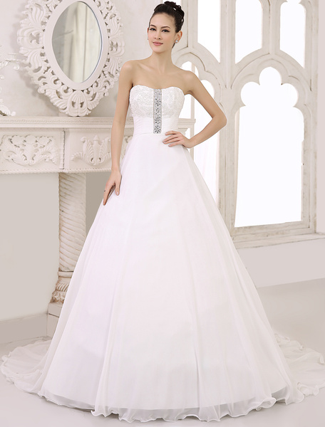 Milanoo Chic Court Train Ivory Bridal A-line Chiffon Wedding Gown with A-line Sweetheart Neck Applique