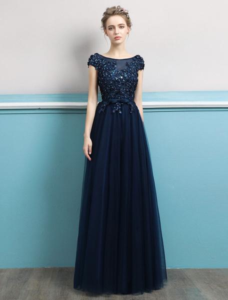 Milanoo Prom Dresses 2020 Long Dark Navy Evening Dress Jewel Neck Open Back Sequin Flowers Beaded Tulle Floor Length Formal Gowns