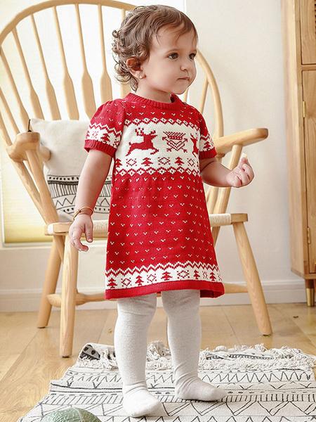 Milanoo Onesie Pajamas Kigurumi Christmas Kids Knitted Winter Sleepwear Mascot Animal Halloween Costume