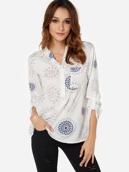 Yoins White Random Floral Print V-neck 3/4 Length Sleeves Blouse