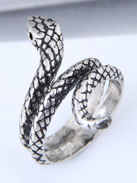 Milanoo Silver Ring Snake Retro Birthday Gift Jewelry