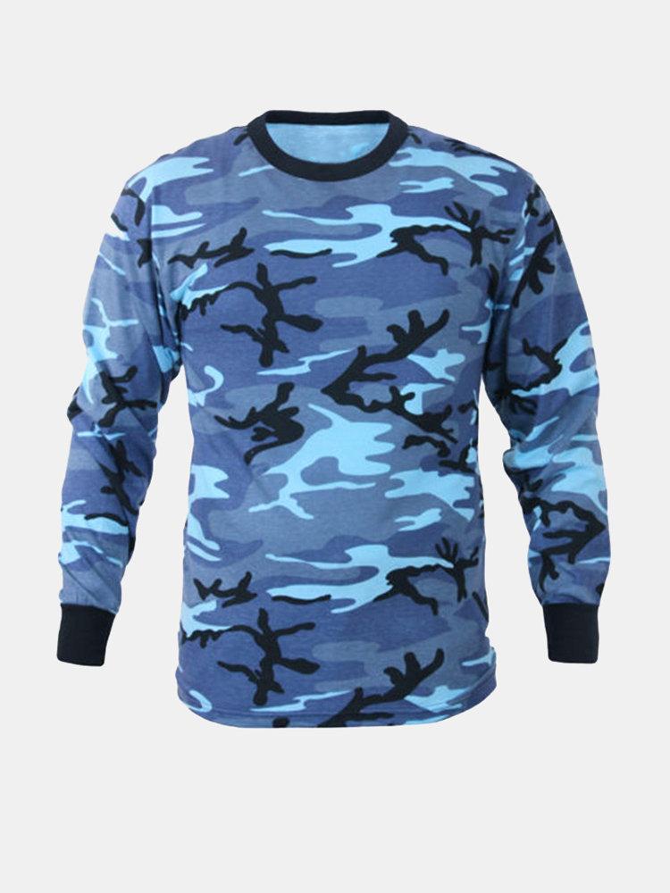 Mens Camo Printed Fashion Casual Long Sleeve Military Crew Neck Tee Top T shirt