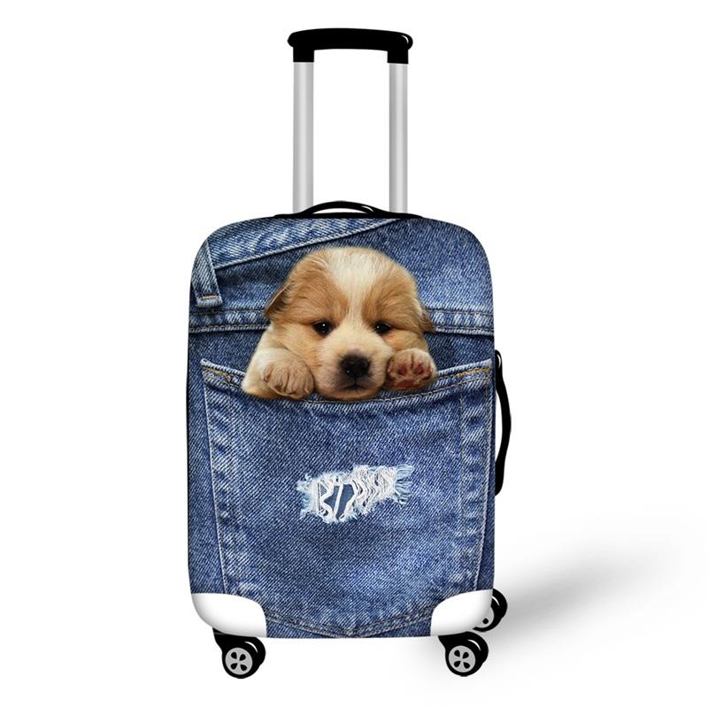 3D Jeans Little Golden Retriever Pattern Waterproof Suitcase Protector for 19 20 21