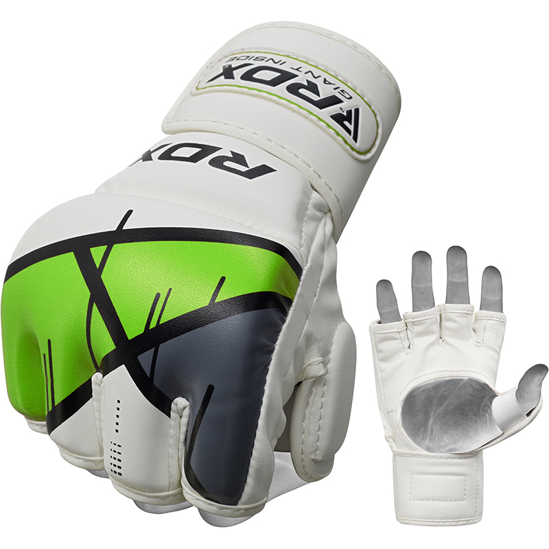 RDX T7 Grappling MMA Gloves Small Green/White/Grey/Black