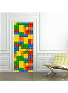 30×79in Colorful Bars with Circles PVC Environmental and Waterproof 3D Door Mural