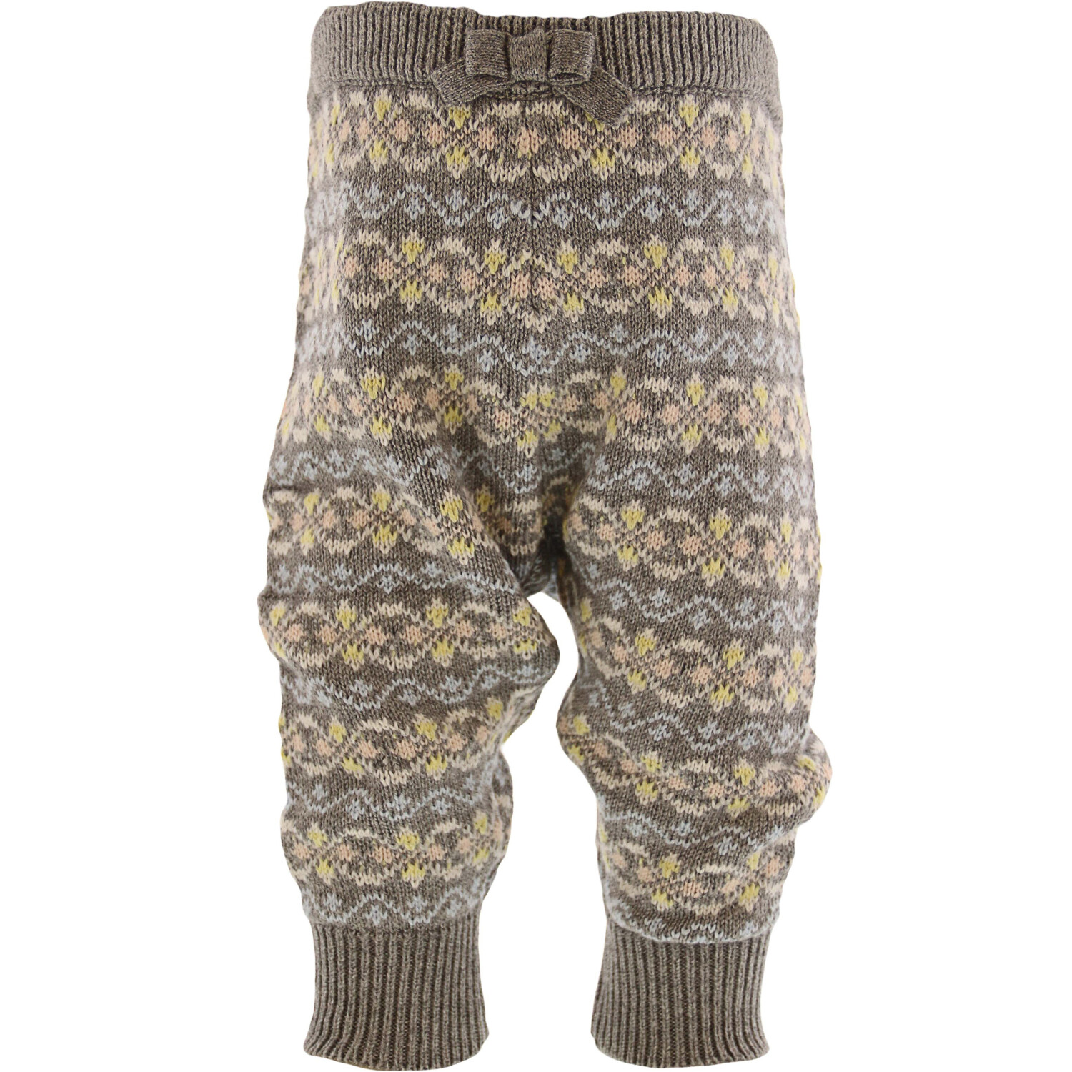 Janie And Jack Girl's Heather Grey Fair Isle Pant Pants - 3-6 Months