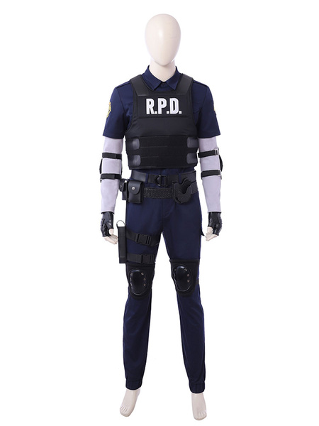 Milanoo Resident Evil 2 Leon Halloween Cosplay Costume