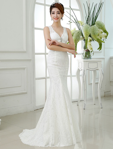 Milanoo Mermaid Wedding Dresses Lace V Neck Ivory Bridal Dress Backless Sleeveless Rhinestones Beading Wedding Gown With Train