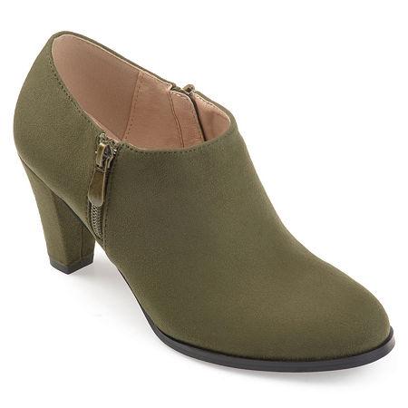 Journee Collection Womens Sanzi Booties Stacked Heel, 8 Medium, Green