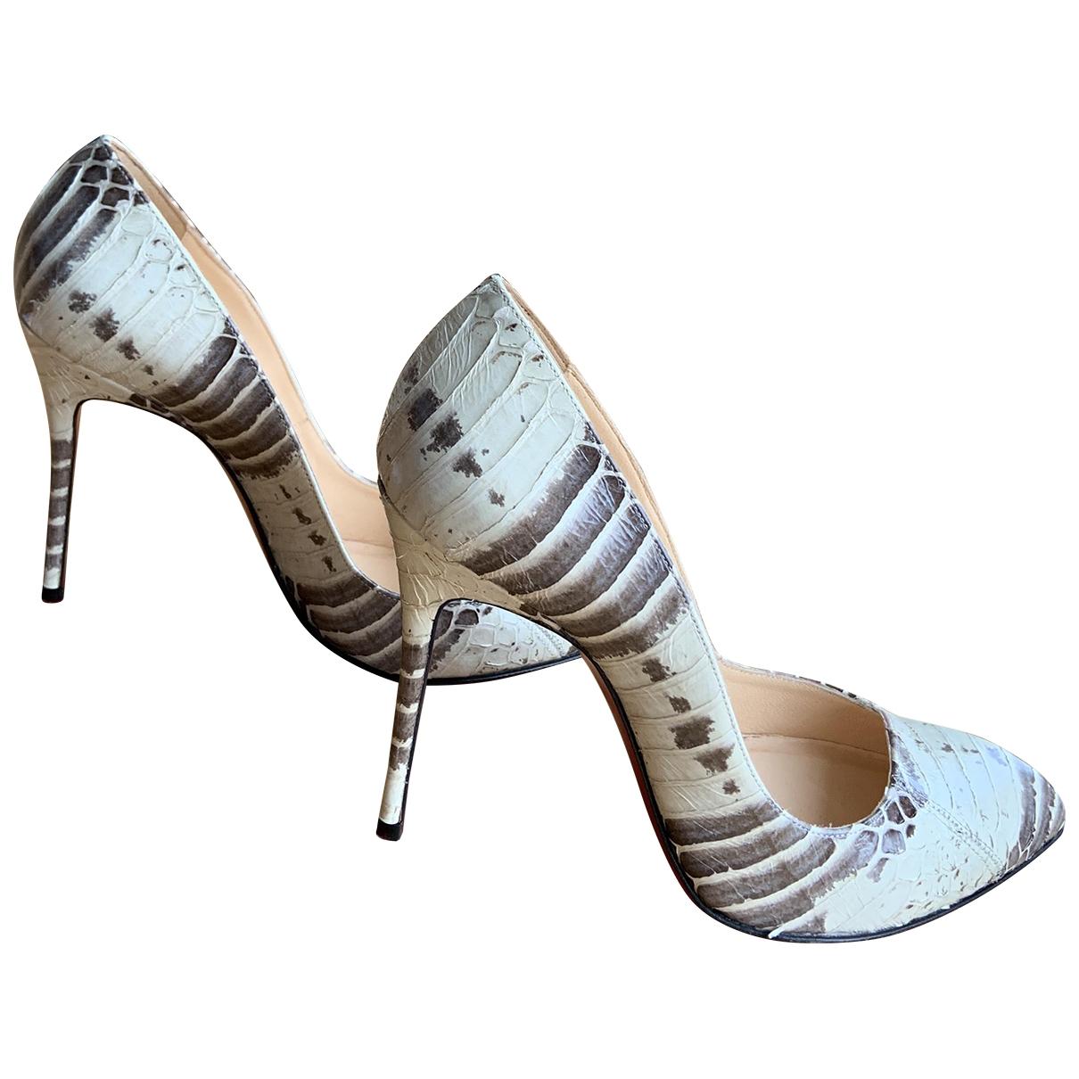 Christian Louboutin Corneille Anthracite Crocodile Heels for Women 36.5 EU
