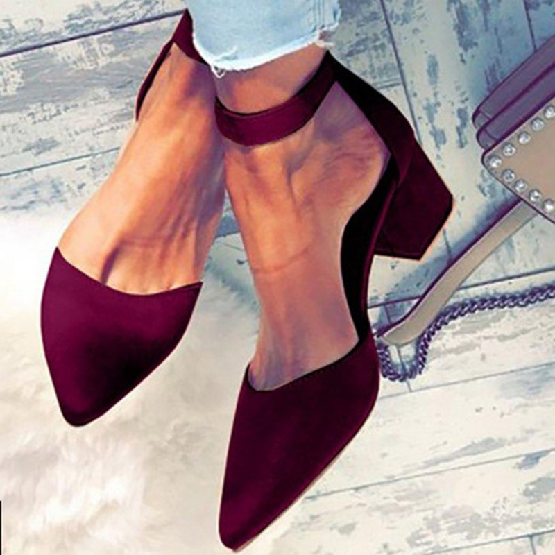 Ericdress Roman Style Pointed Toe Chunky Heel Pumps