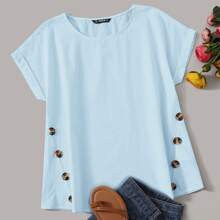 Button Detail Rolled Tab Sleeve Top