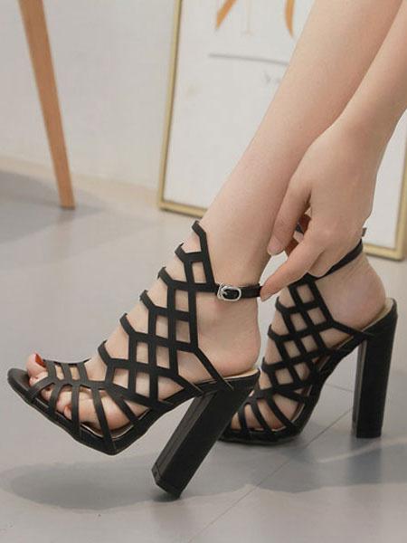 Milanoo High Heel Sandals Women Open Toe Cut Out Block Heel Sandals Black Gladiator Sandals