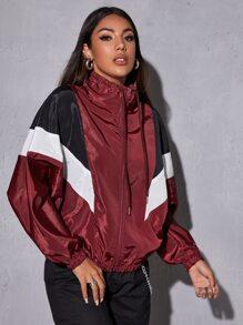 Color Block Drawstring Windbreaker Jacket