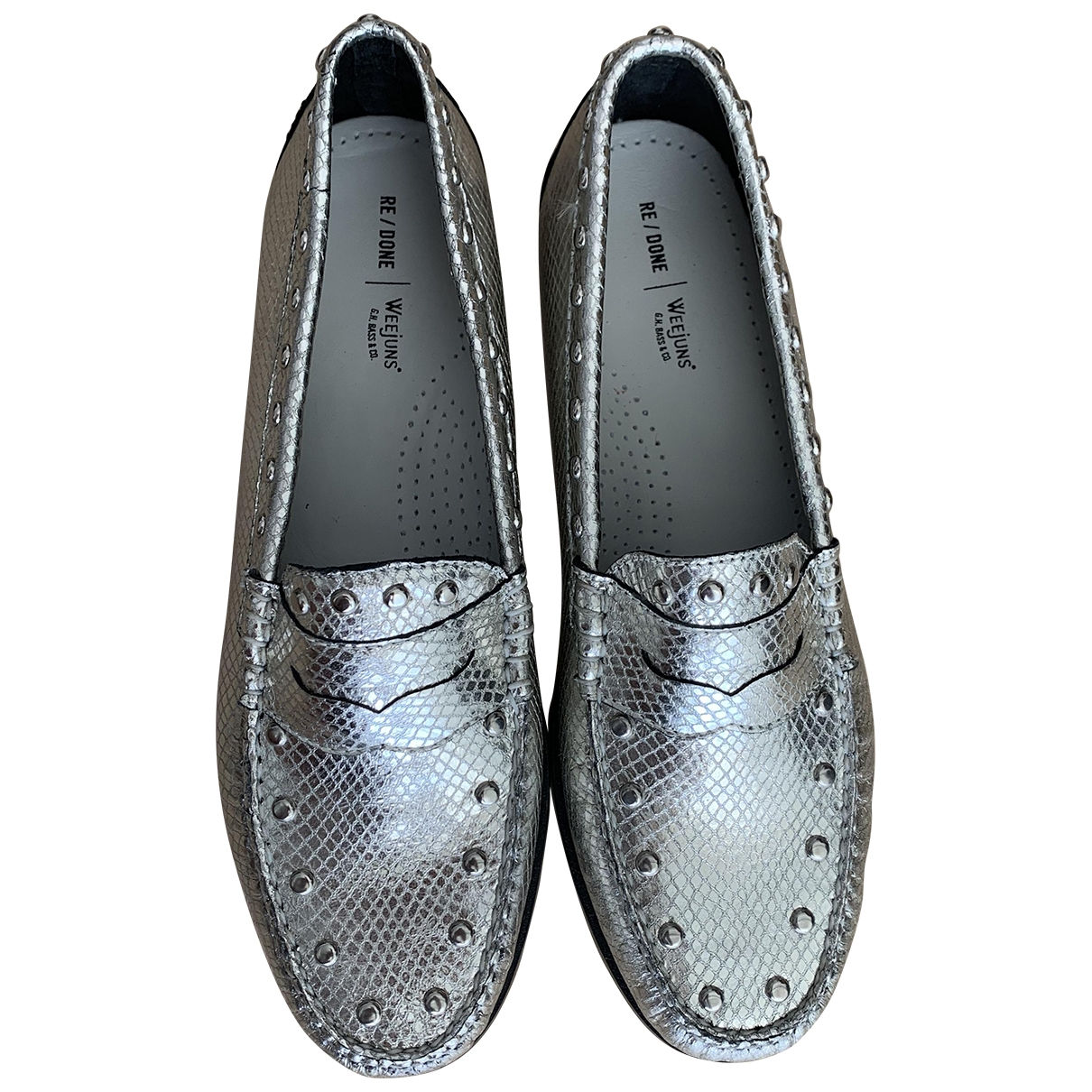 Re/done \N Silver Leather Flats for Men 42.5 EU