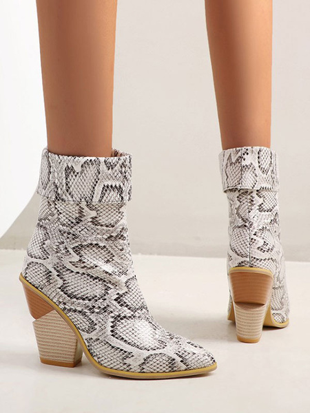 Milanoo Women Ankle Boots Red PU Leather Pointed Toe Chunky Heel Snakeskin Print Booties