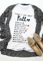 Things I Love About Fall Letter Graphic T-Shirt Tee - White