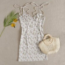 Knotted Shoulder Ruched Bust Ditsy Floral Cami Dress
