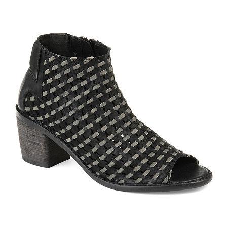Journee Signature Womens Devine Booties Stacked Heel, 6 1/2 Medium, Black