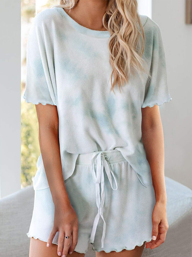 Tie-dyed Print Short Sleeve Loose Casual Suit For Women