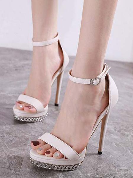Milanoo Woman\'s High Heels Open Toe Stiletto Metal Details Chic Black Ankle Strap Sandals
