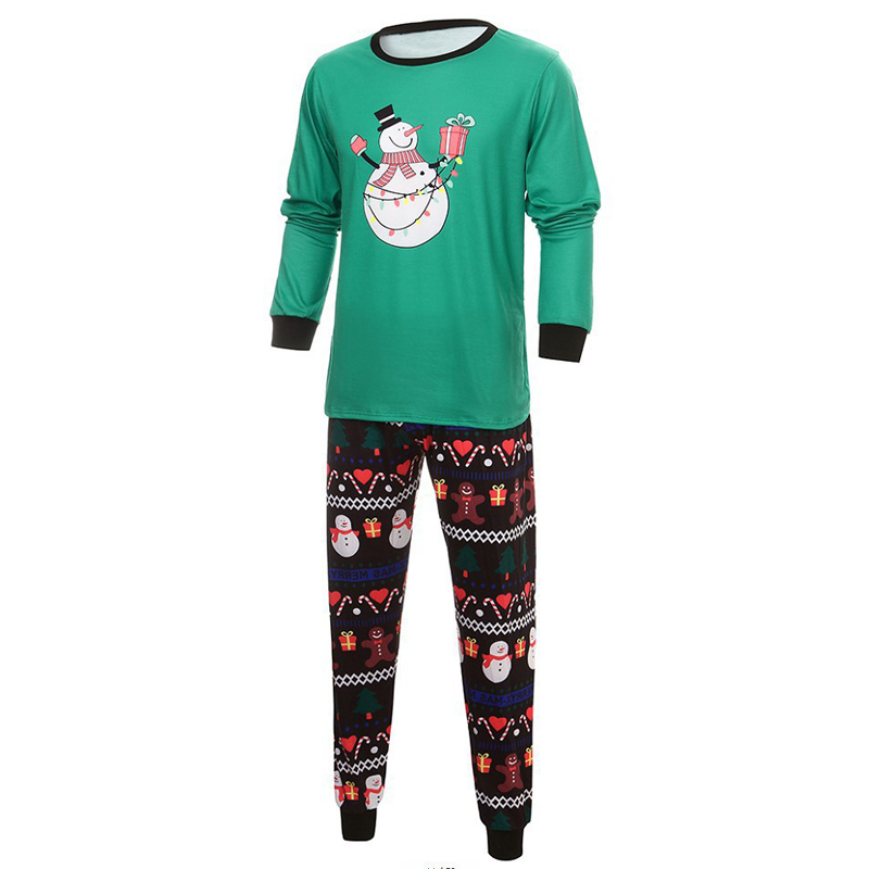 Christmas Snowman Top with Patterned Striped Pant Family Pajamas Outfit