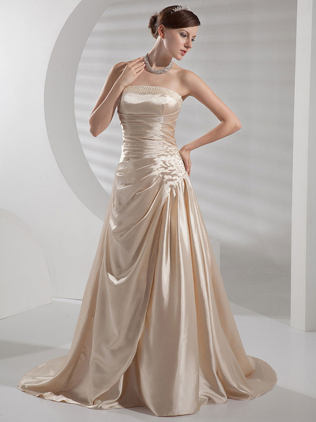 Milanoo Champagne Wedding Dress Strapless Backless Ruched Satin Wedding Gown