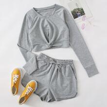Twist Hem Sweatshirt With Track Shorts