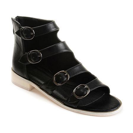 Journee Collection Womens Oakly Flat Sandal, 9 Medium, Black