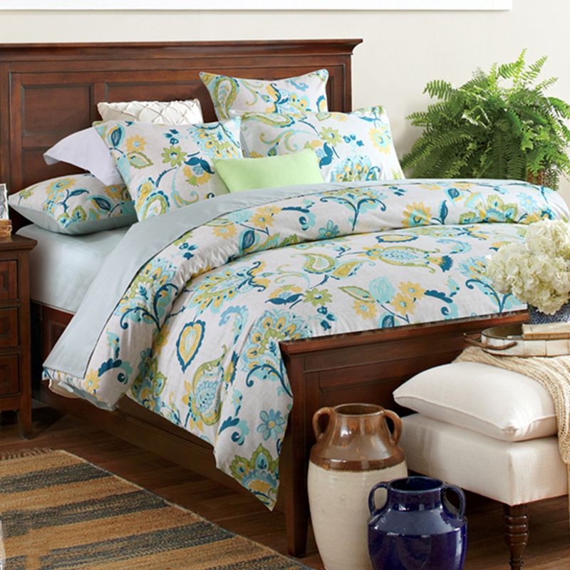 Floral Duvet Cover Set Reactive Printing 2 Pillowcases Three-Piece Set Polyester 2 Pillowcases