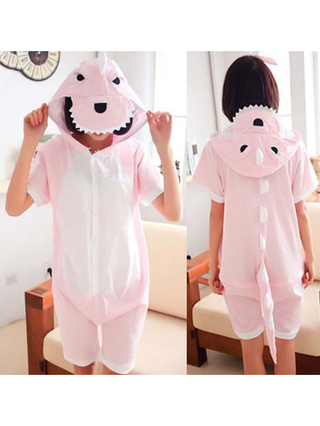Milanoo Dinosaur Pajamas Onesie Kigurumi Soft Pink Short Summer Animal Sleepwear For Adults
